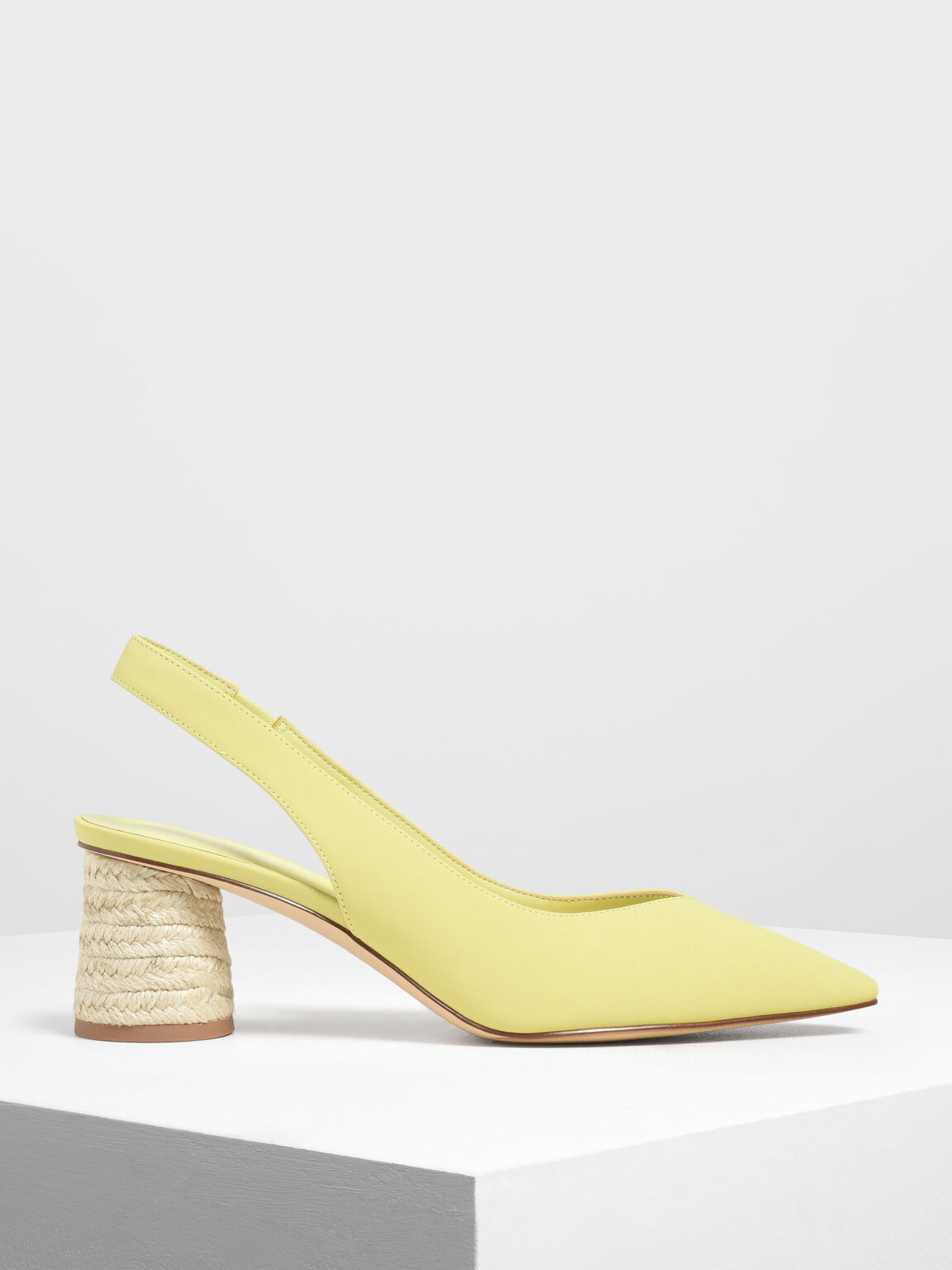 Cylindrical Espadrille Block Heel Slingbacks, Yellow, hi-res