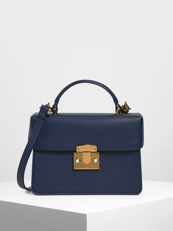 Classic Push Lock Top Handle Bag, Dark Blue, hi-res
