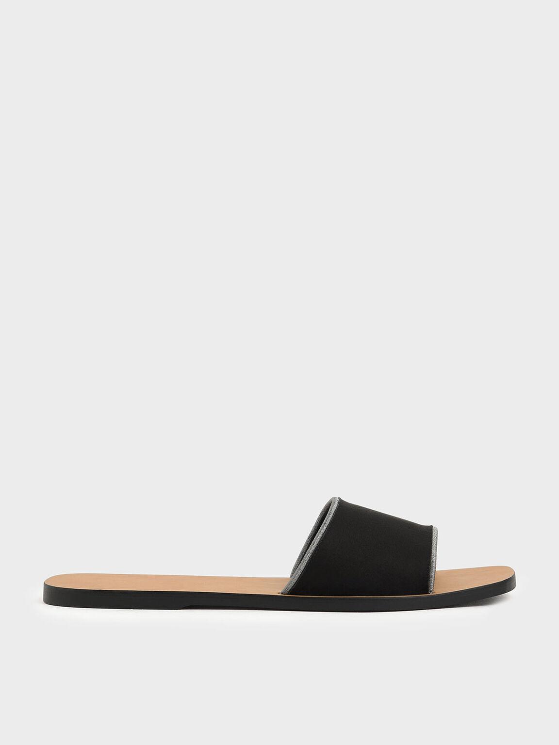 Textured Slide Sandals, Black, hi-res