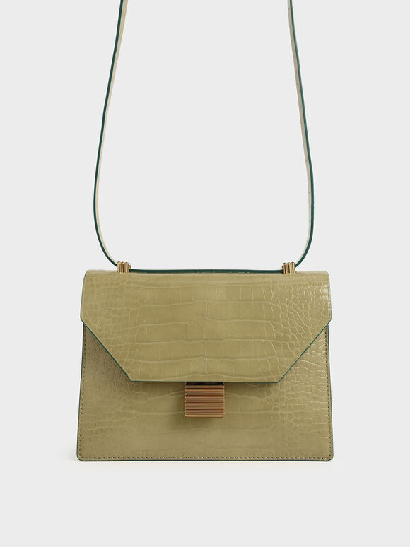 Croc-Effect Metal Accent Crossbody Bag, Sand, hi-res