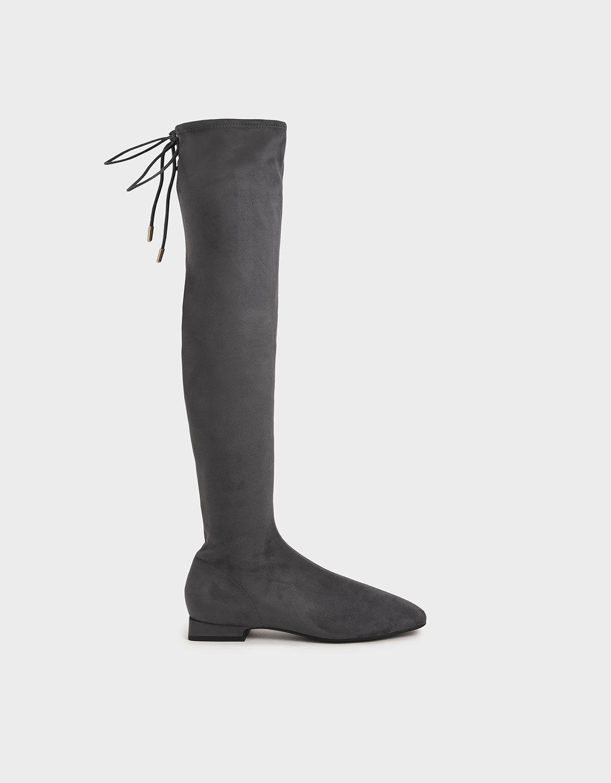 Dark Grey Textured Thigh High Boots