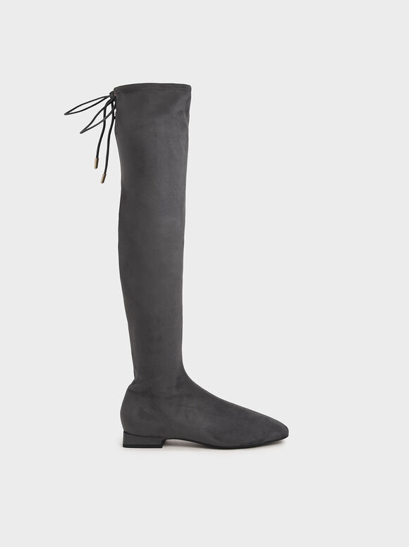 Textured Thigh High Boots, Dark Grey, hi-res