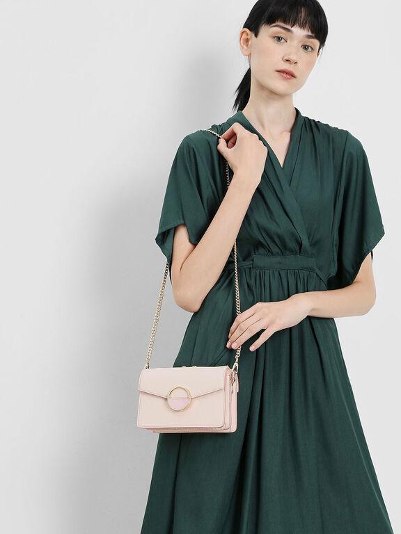 Stone Embellished Shoulder Bag, Light Pink, hi-res