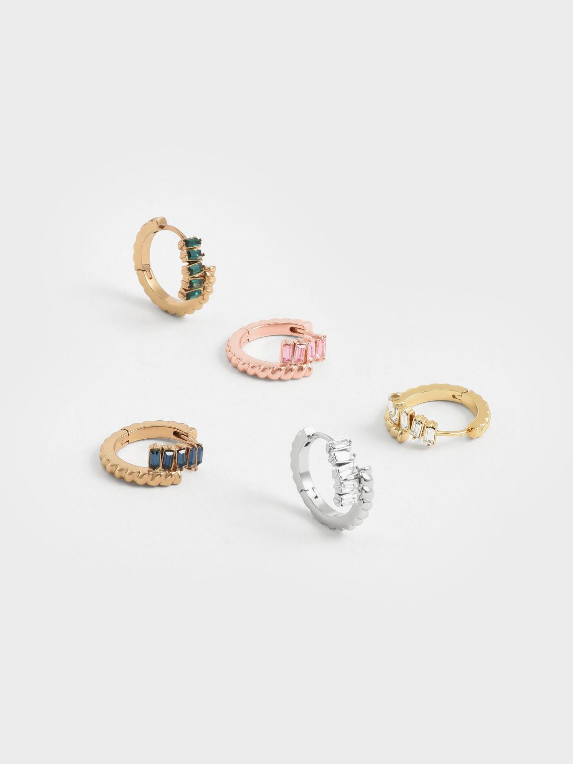 Swarovski® Crystal Embellished Huggie Hoop Earrings, Rose Gold, hi-res
