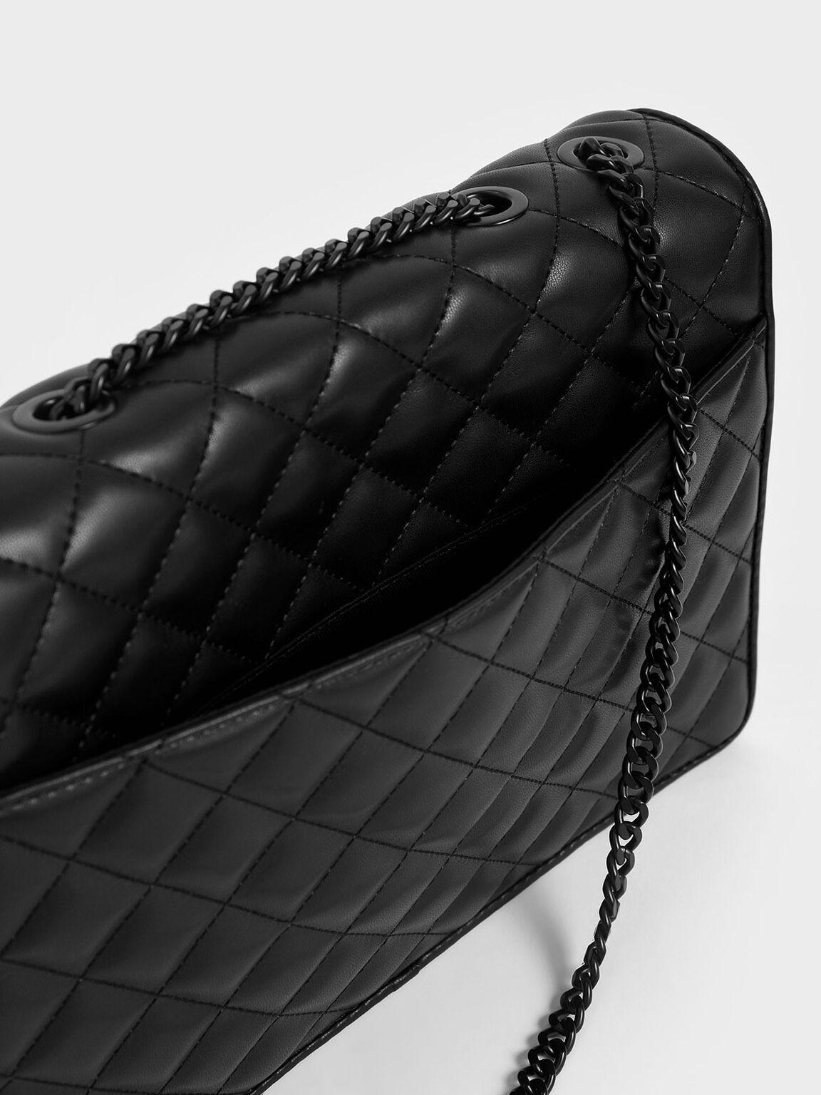 Quilted Chain Strap Shoulder Bag, Ultra-Matte Black, hi-res