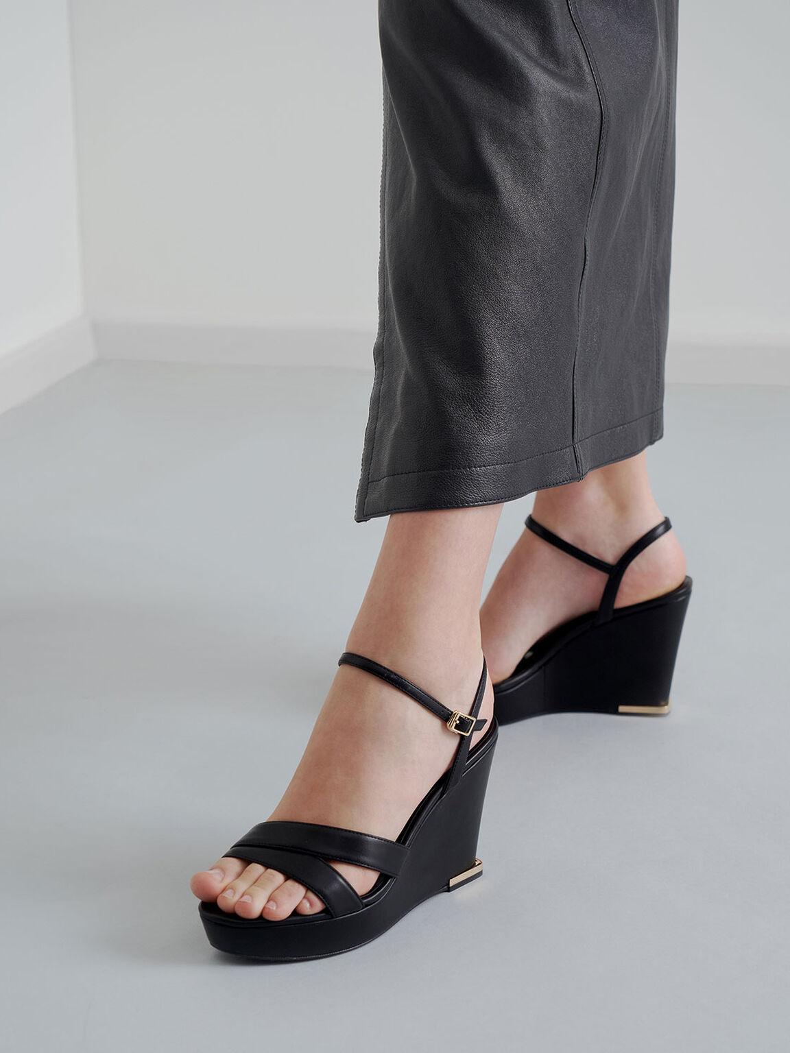 Asymmetric Strap Platform Wedges, Black, hi-res