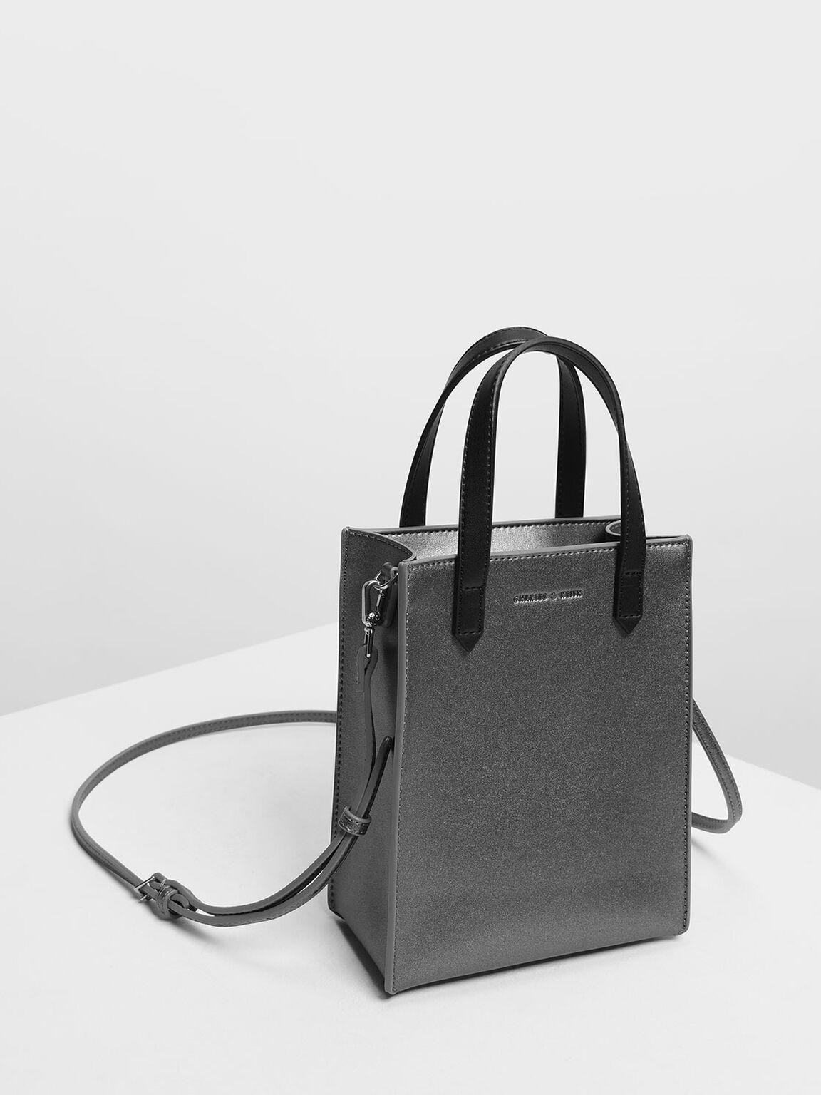 Zipper Compartment Tote Bag, Pewter, hi-res