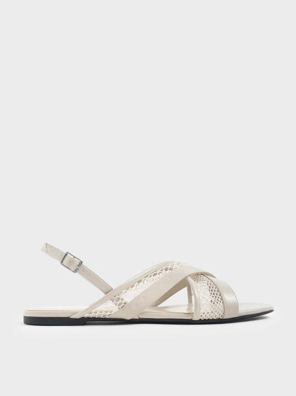 Criss Cross Mesh Slingback Sandals, Cream, hi-res