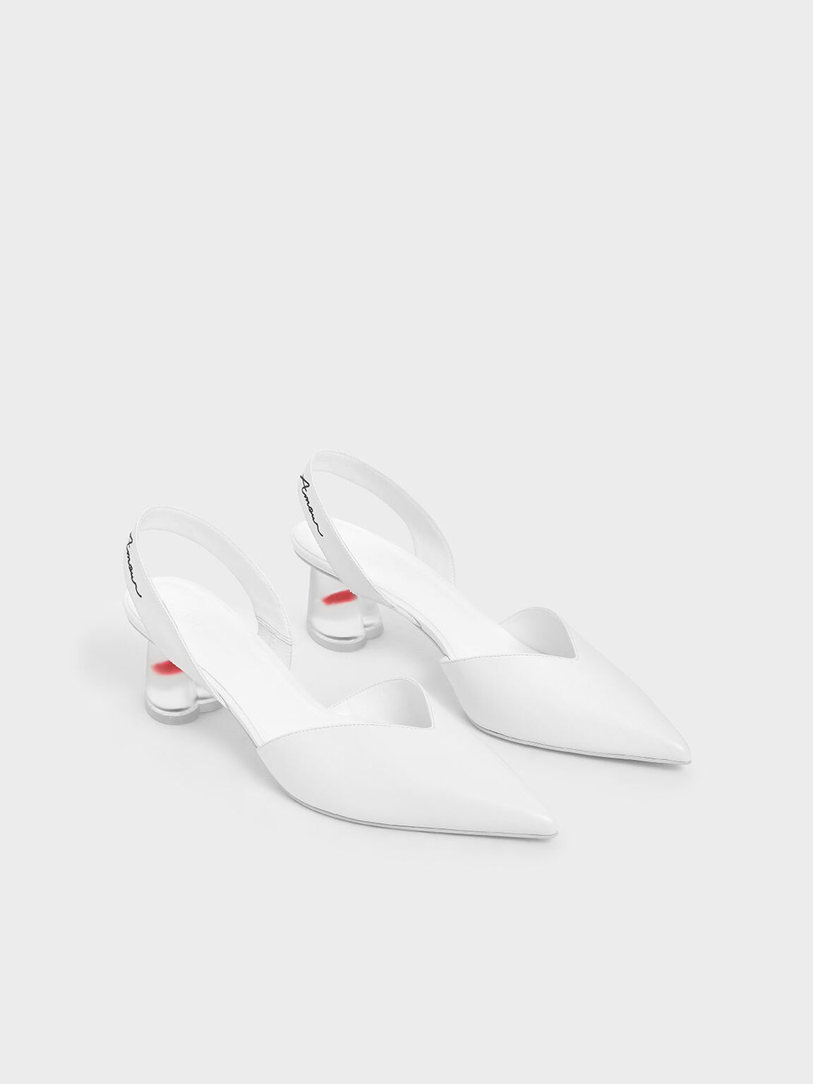 Sculptural Lucite Heel Slingback Pumps, White, hi-res