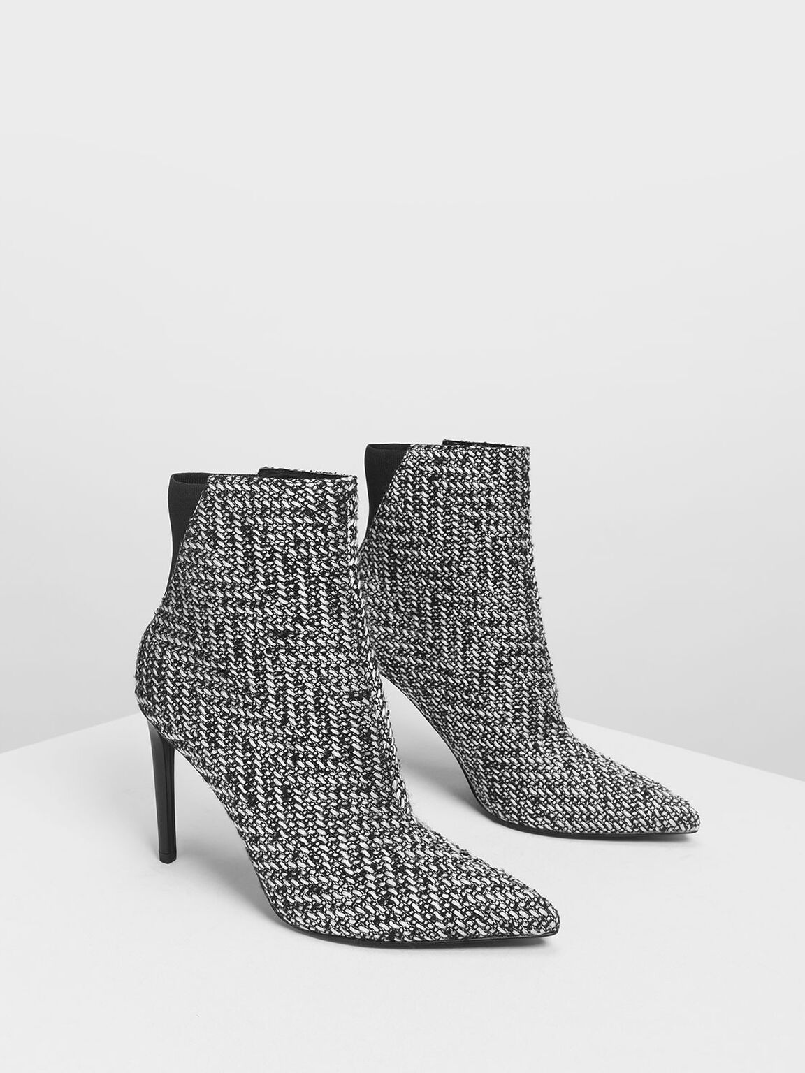 Pointed Stiletto Calf Boots, Black Textured, hi-res
