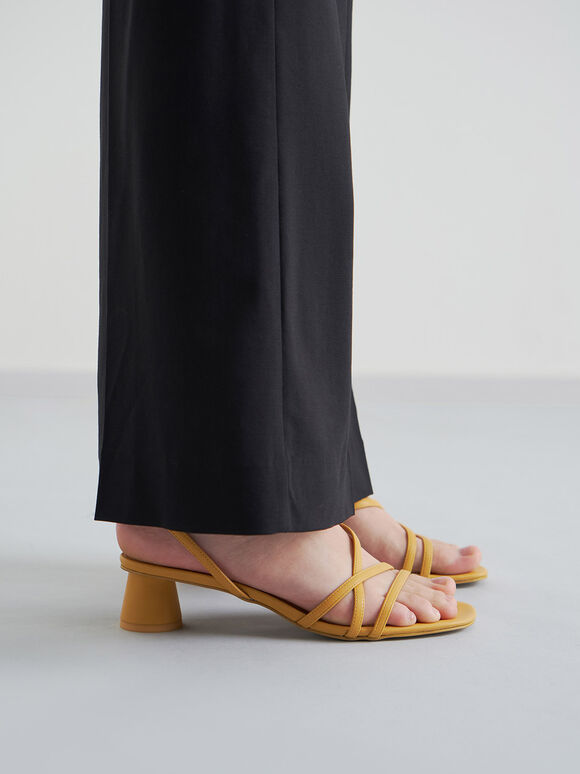 線條圓柱跟涼鞋, 黃色, hi-res