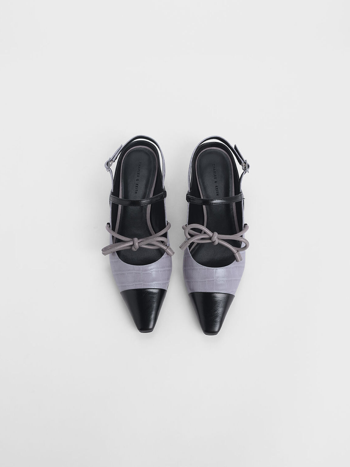 Croc-Effect Mary Jane Bow Flats, Lilac, hi-res
