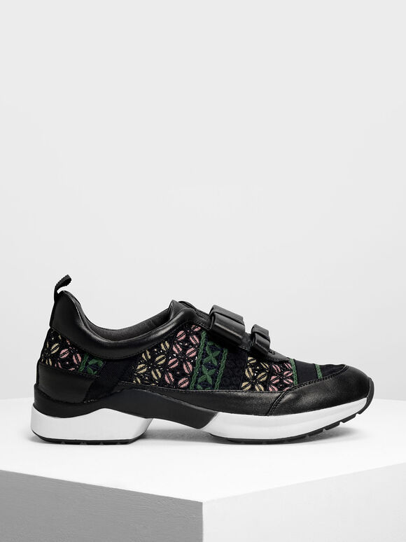 Leather Bow Crochet Slip-On Sneakers, Multi, hi-res