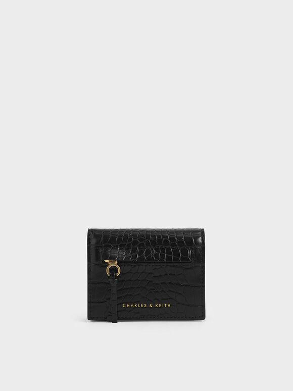 Croc-Effect Front Zip Card Holder, Black, hi-res