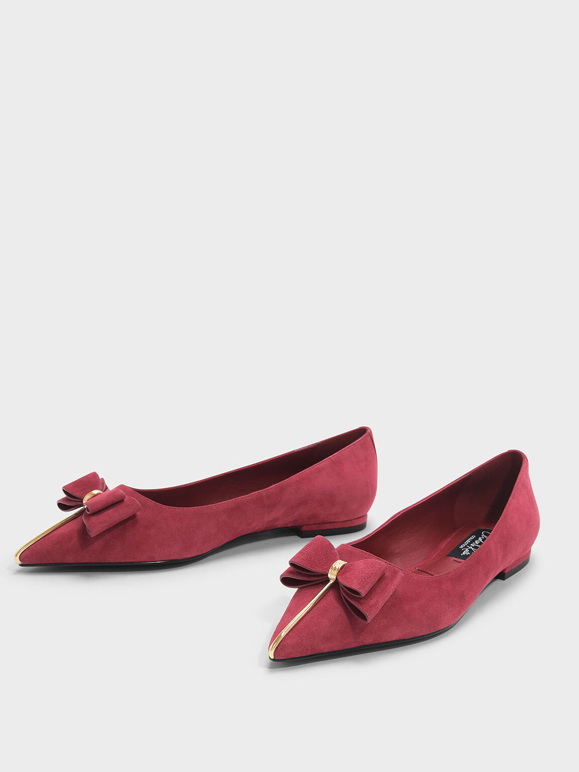 Bow Detail Suede Ballerinas, Red, hi-res