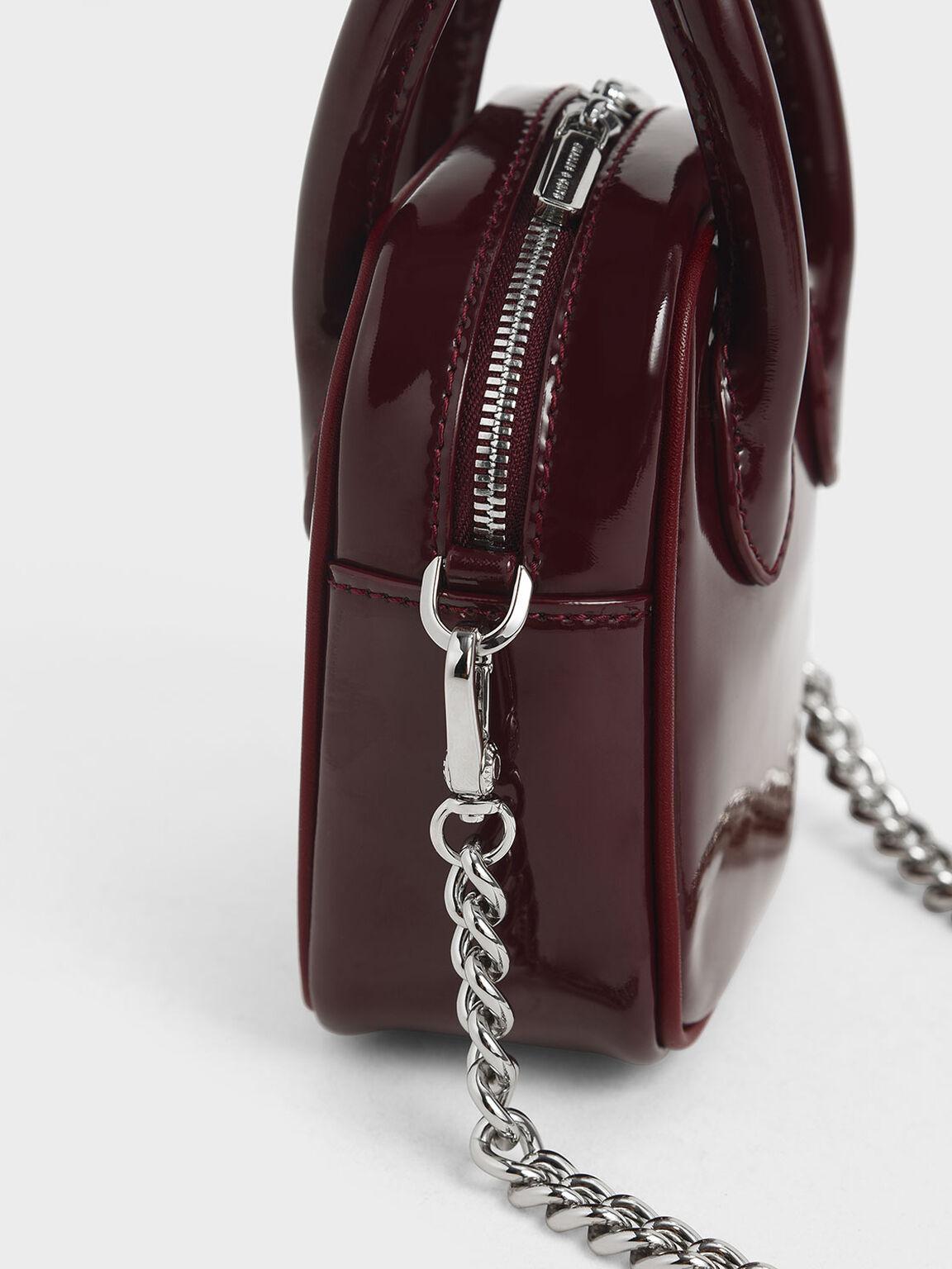 Mini Patent Square Pouch, Burgundy, hi-res