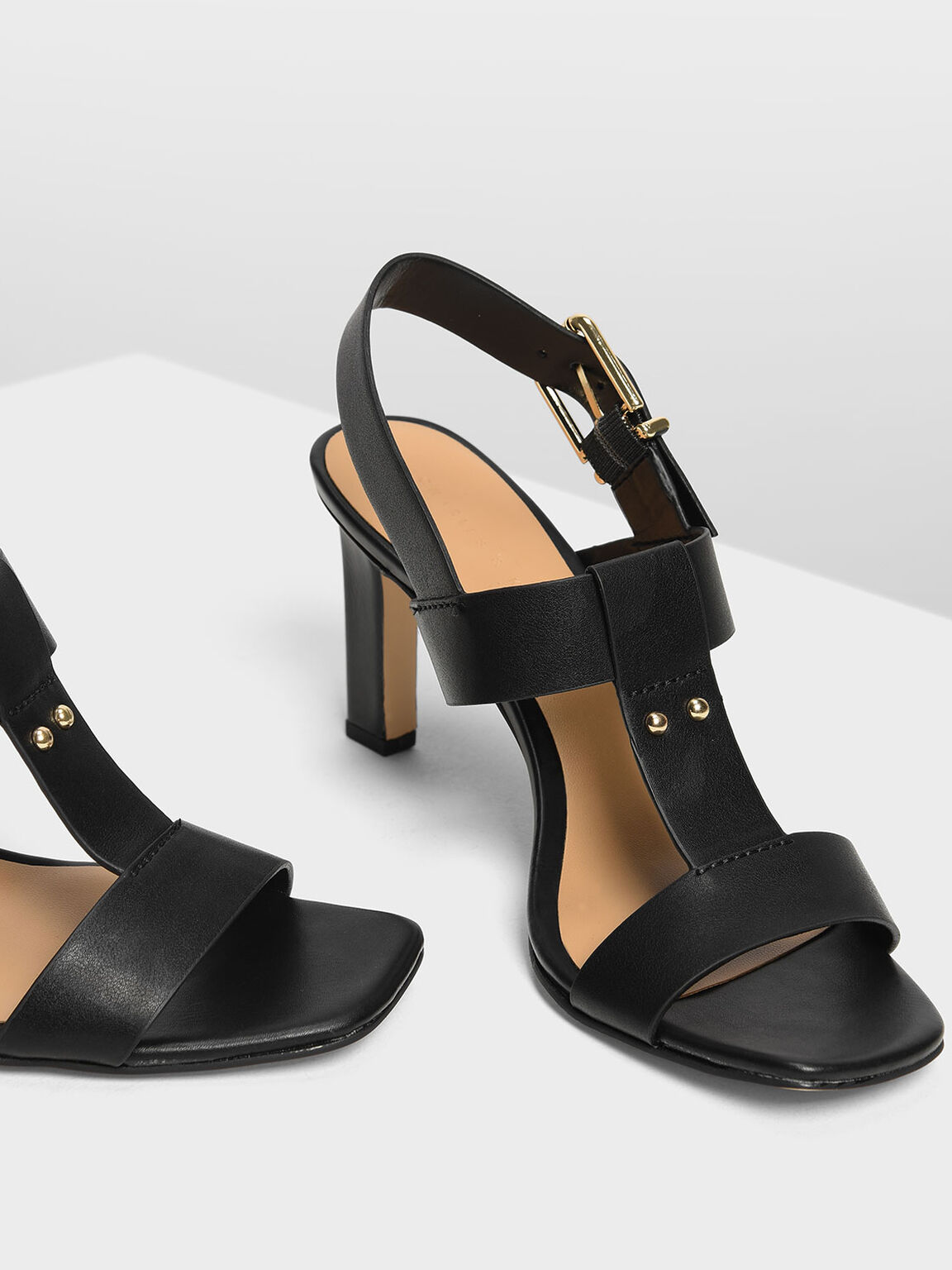 T-Bar Slingback Heels, Black, hi-res