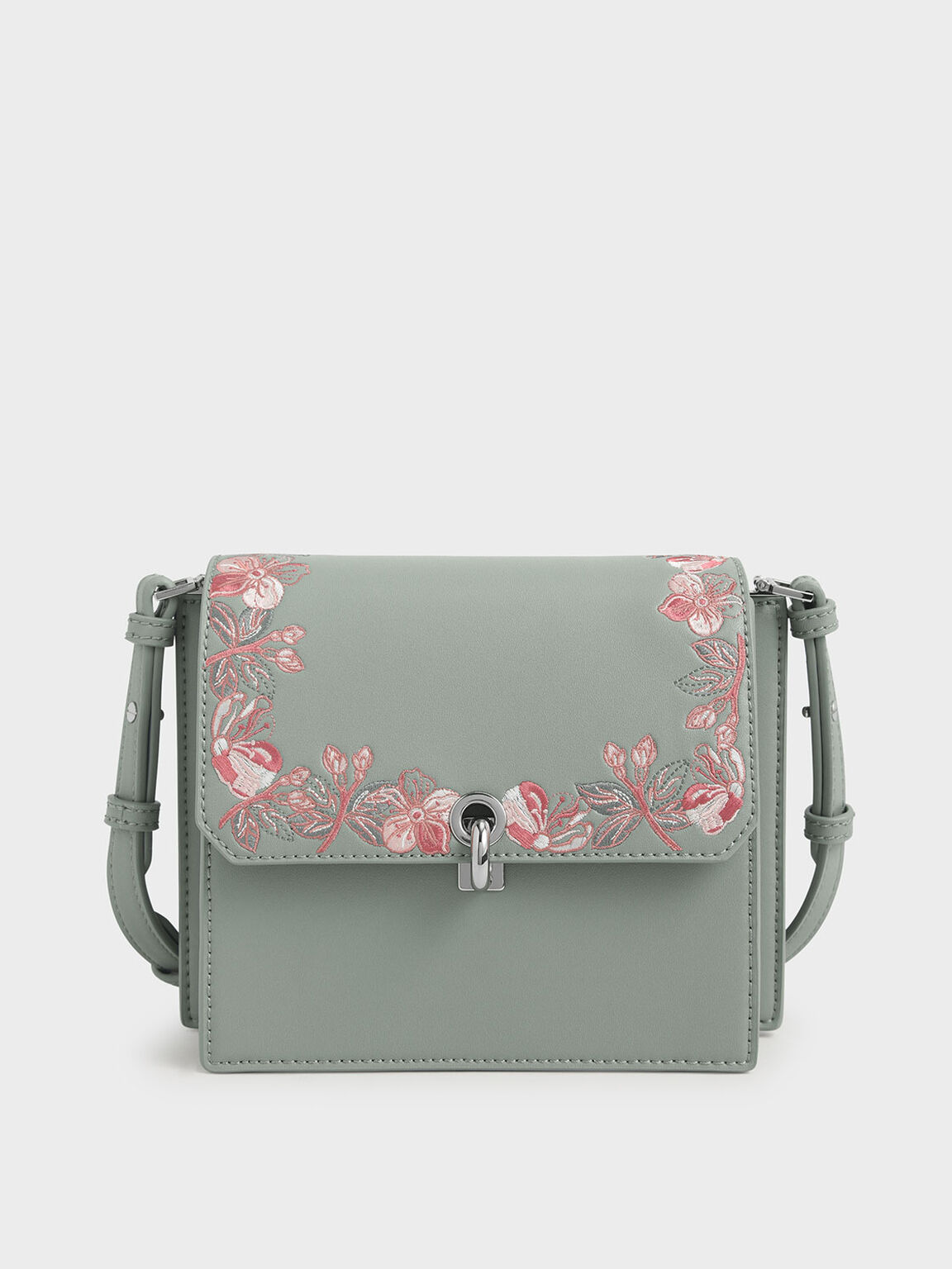 Floral Embroidered Turn Lock Bag, Green, hi-res