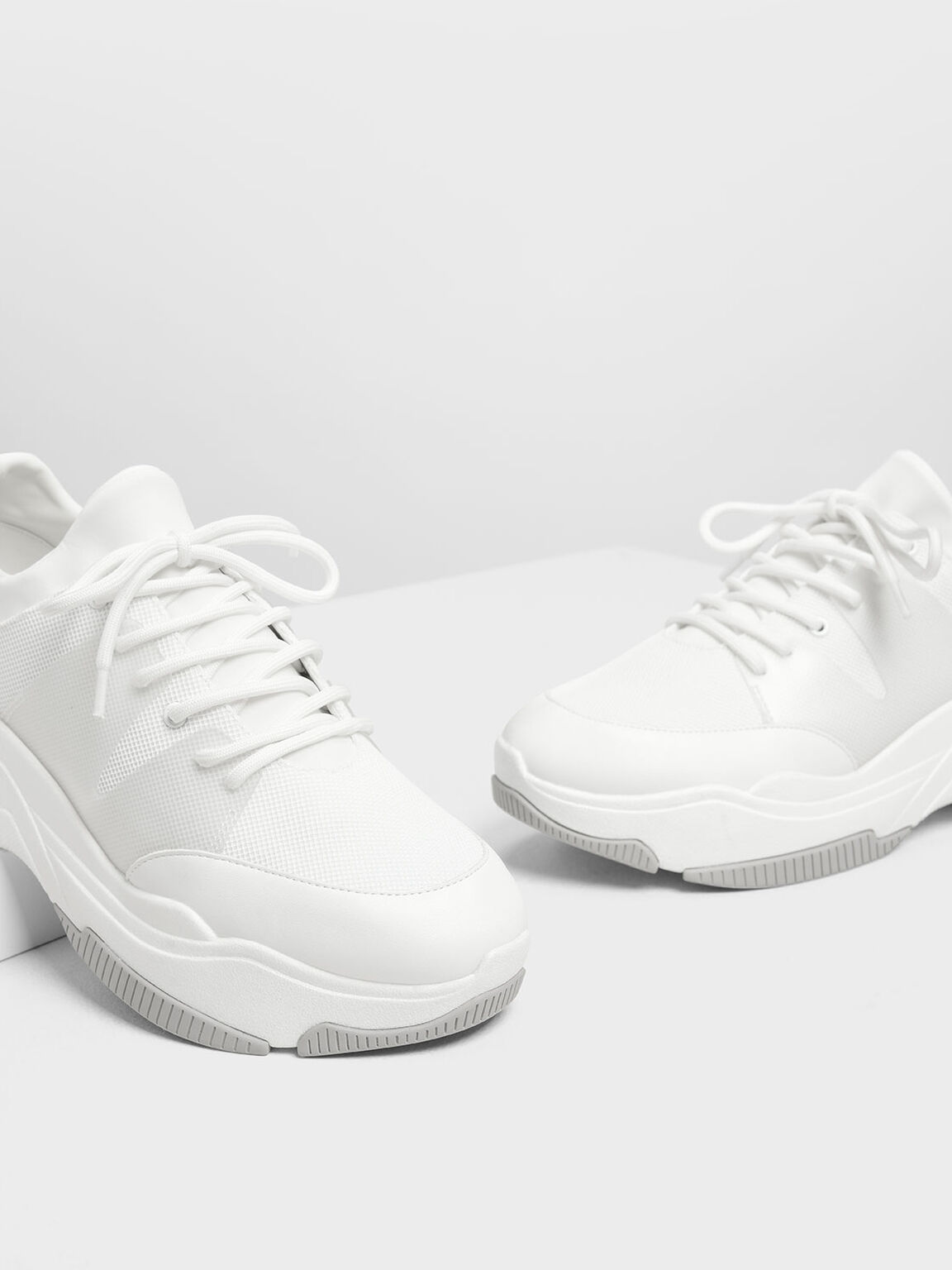 Chunky Mesh Sneakers, White, hi-res
