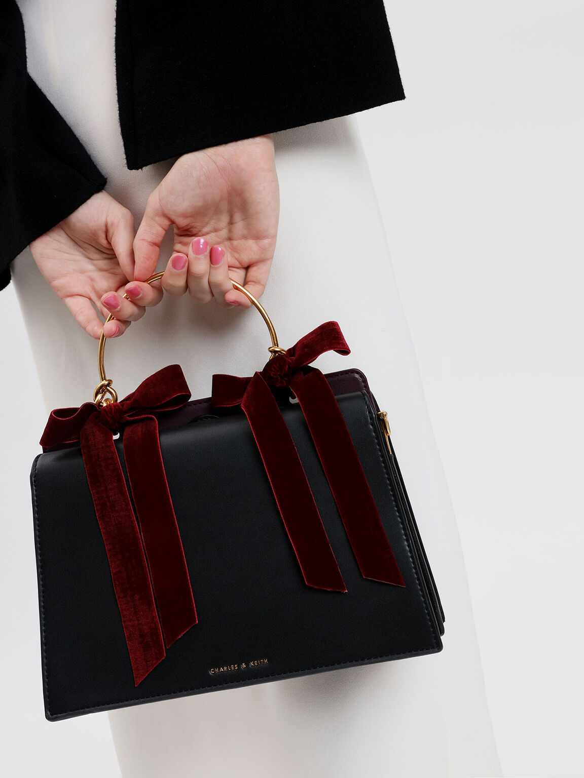 Velvet Bow Detail Handbag, Black, hi-res