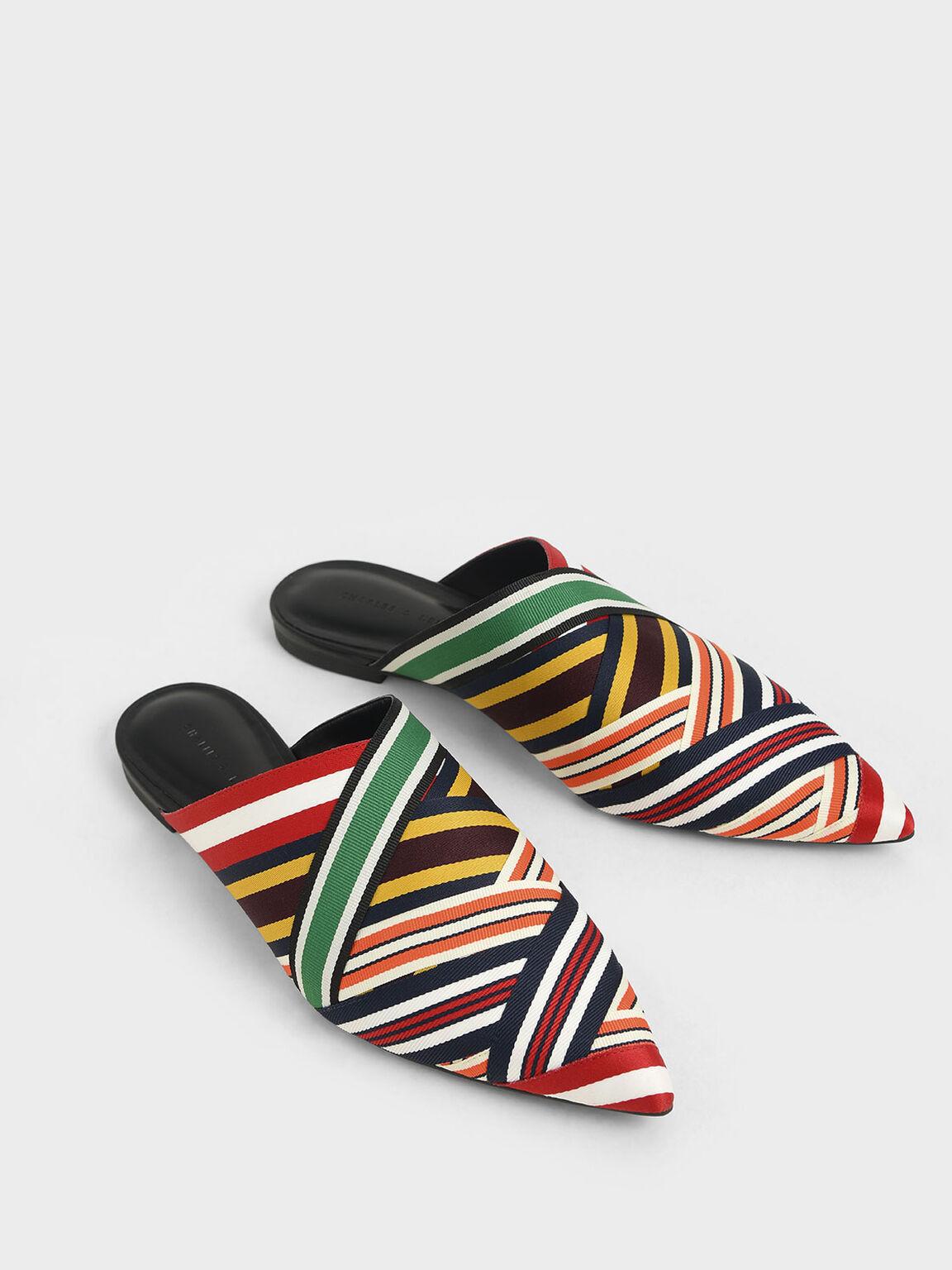 Multicoloured Grosgrain Mules, Multi, hi-res