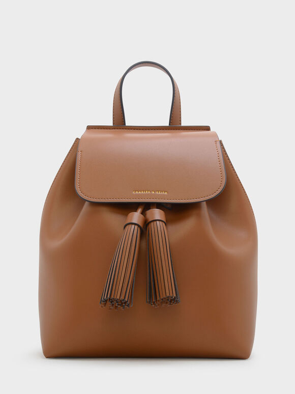 Tasselled Backpack, Cognac, hi-res
