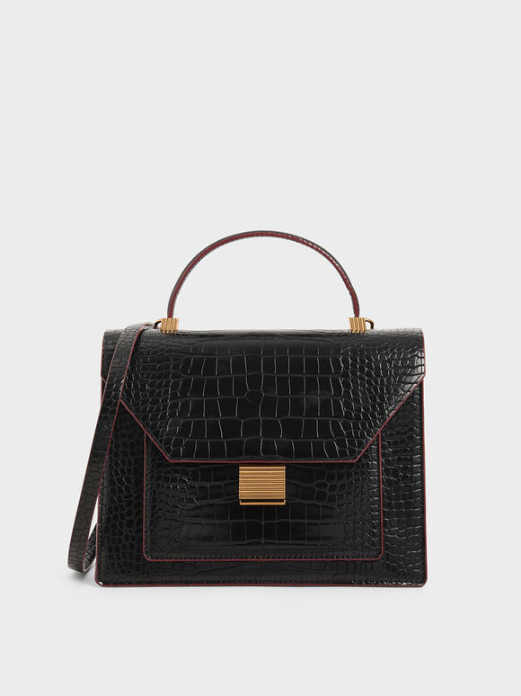 Croc-Effect Top Handle Bag, Black, hi-res