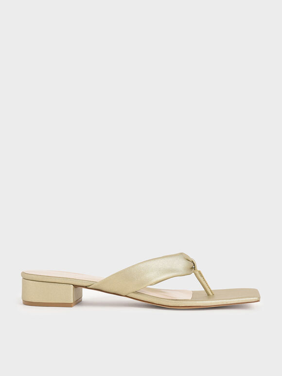 Metallic Puffy Strap Thong Sandals, Gold, hi-res
