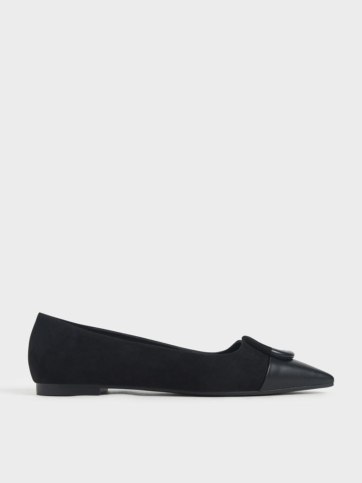 Mismatched Ballerina Flats, Black, hi-res