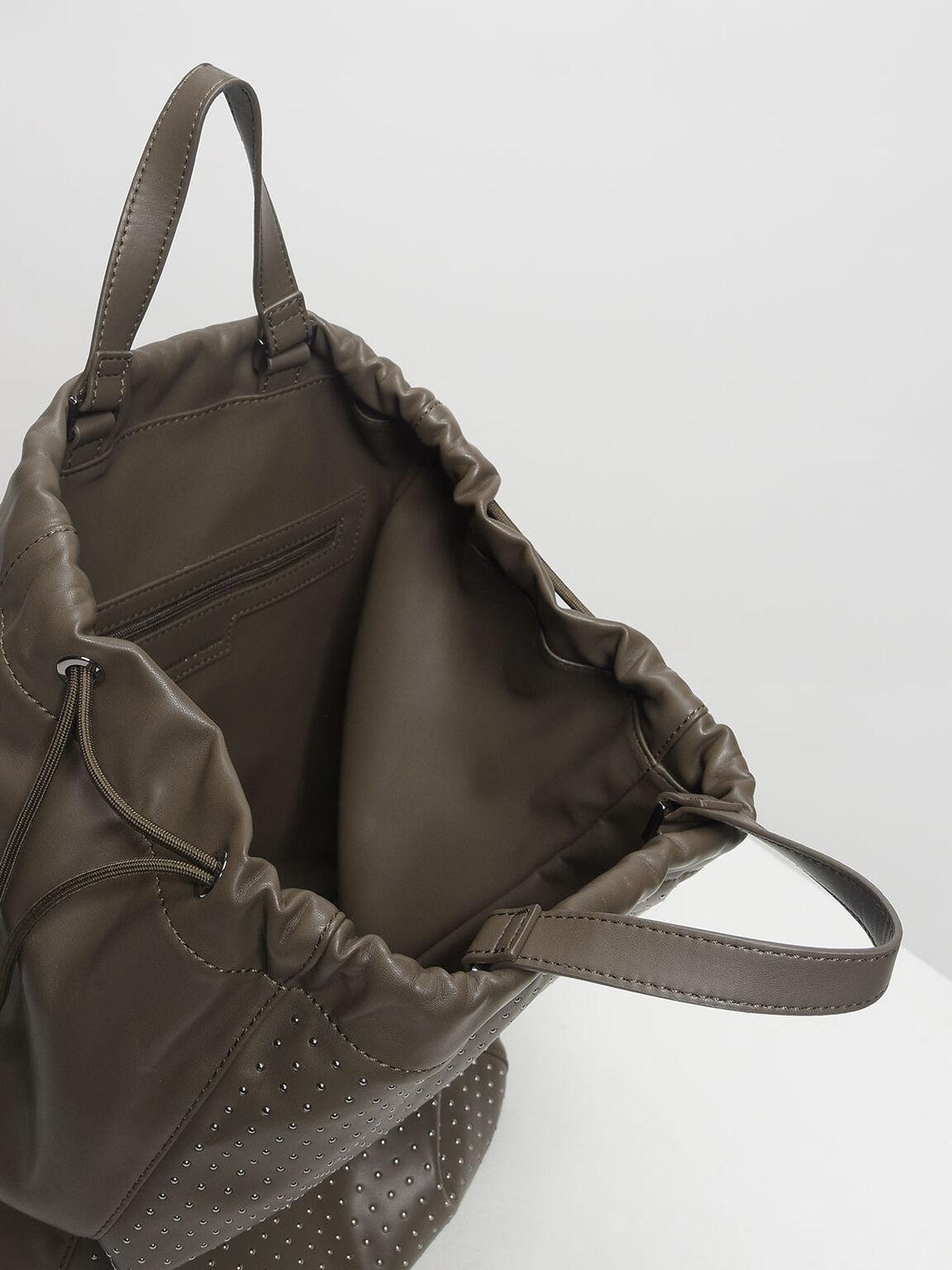 Micro Stud Drawstring Backpack, Olive, hi-res