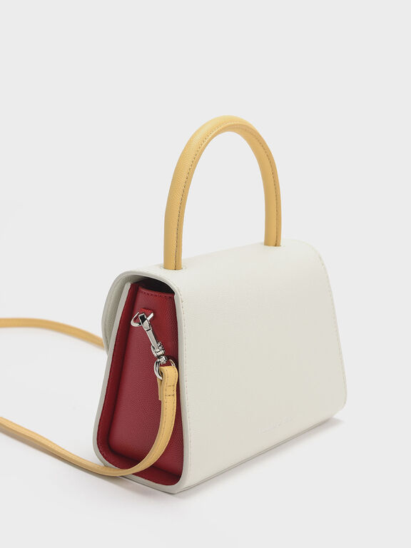 Two-Tone Structured Top Handle Bag, White