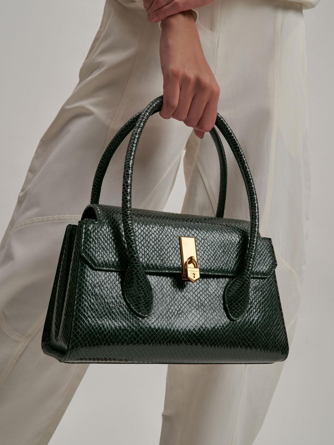 金屬釦手提梯形包, 深綠色, hi-res