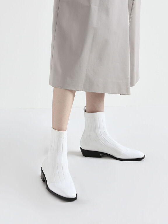 Knitted Ankle Boots, White
