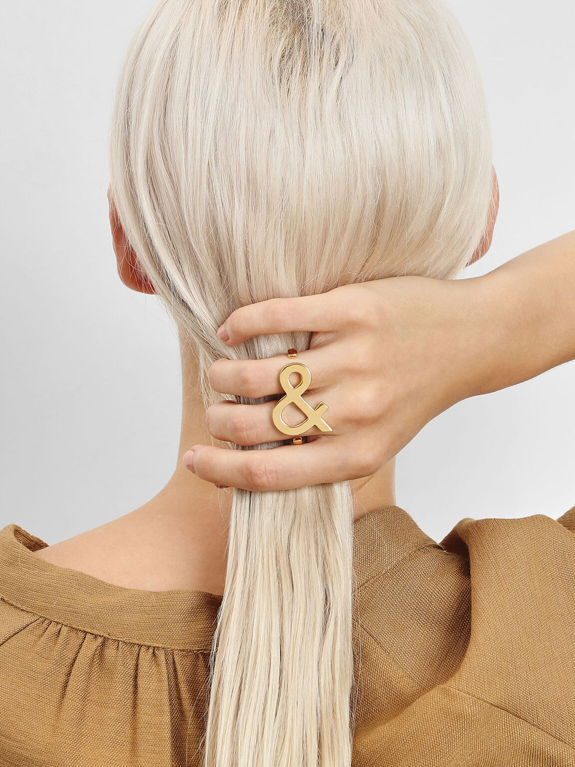 Ampersand Double Ring, Gold, hi-res
