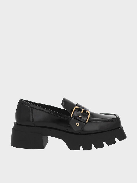 Fay Buckled Chunky Penny Loafers, Black, hi-res