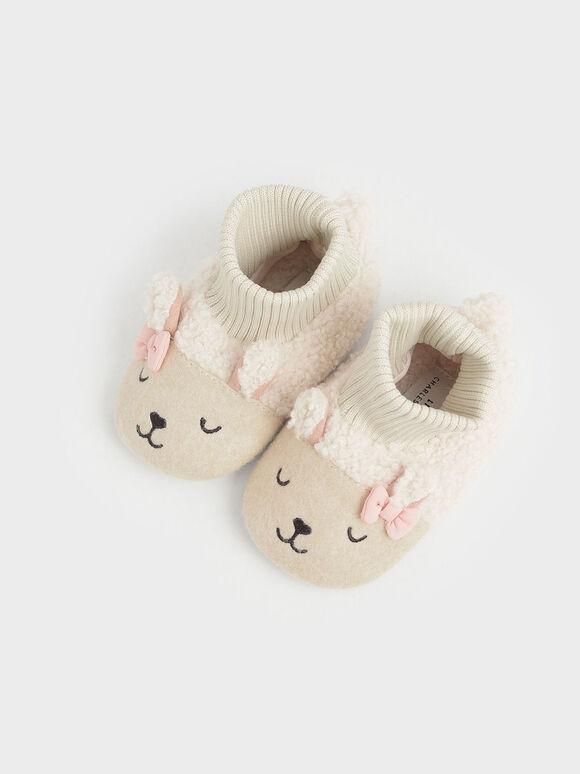 Baby Girls' Nellie The Lamb Furry Booties, Beige, hi-res