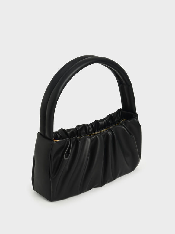 Ruched Top Handle Bag, Black, hi-res