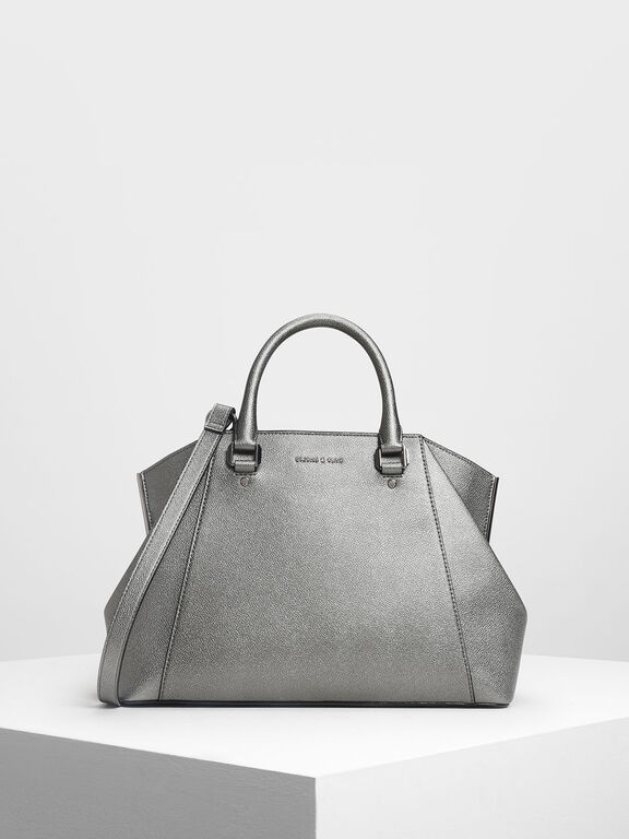 Structured City Bag, Pewter, hi-res
