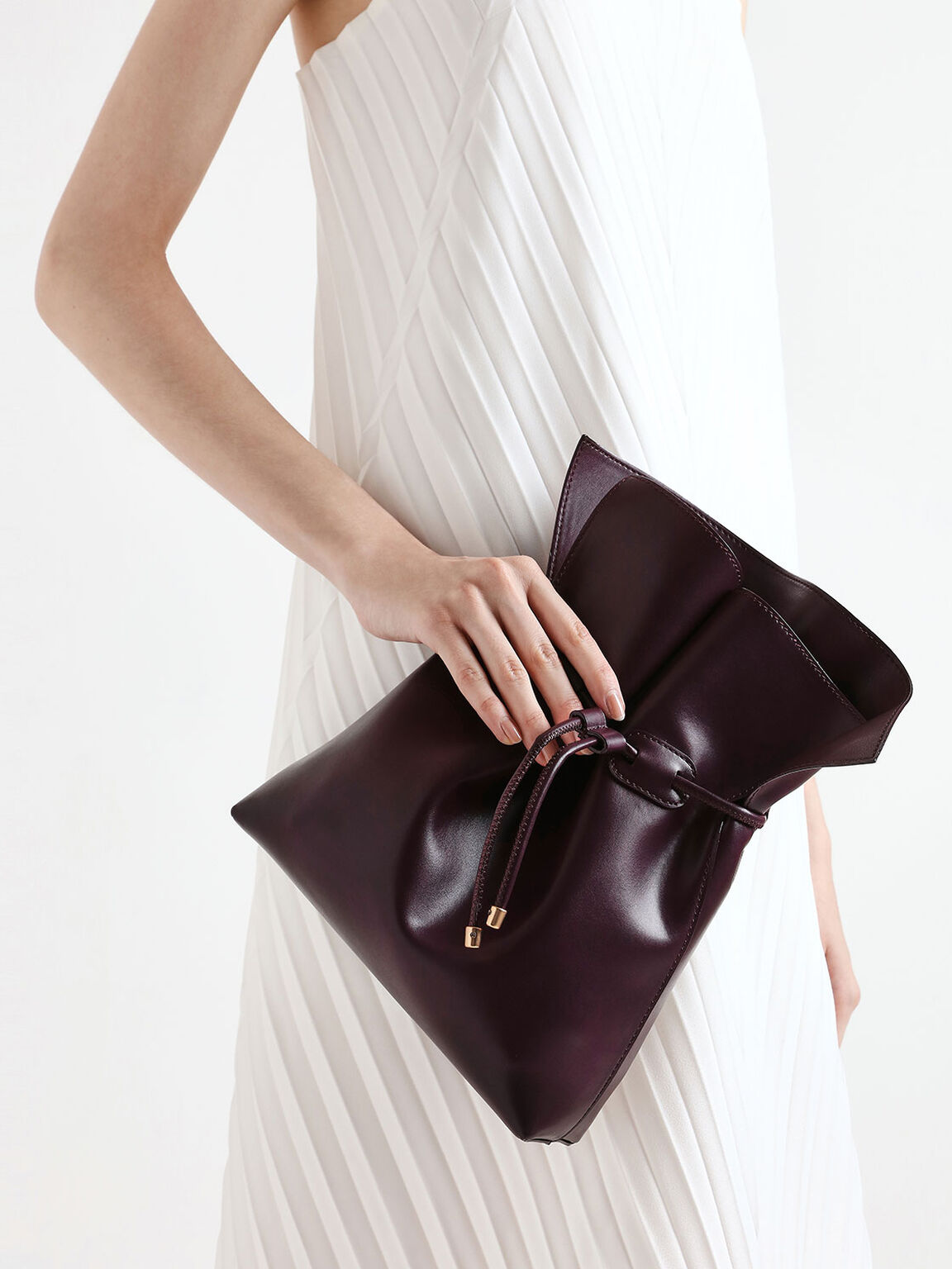 Drawstring Bucket Bag, Prune, hi-res