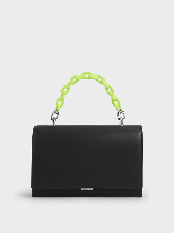 Two-Tone Chain Top Handle Bag, Black, hi-res