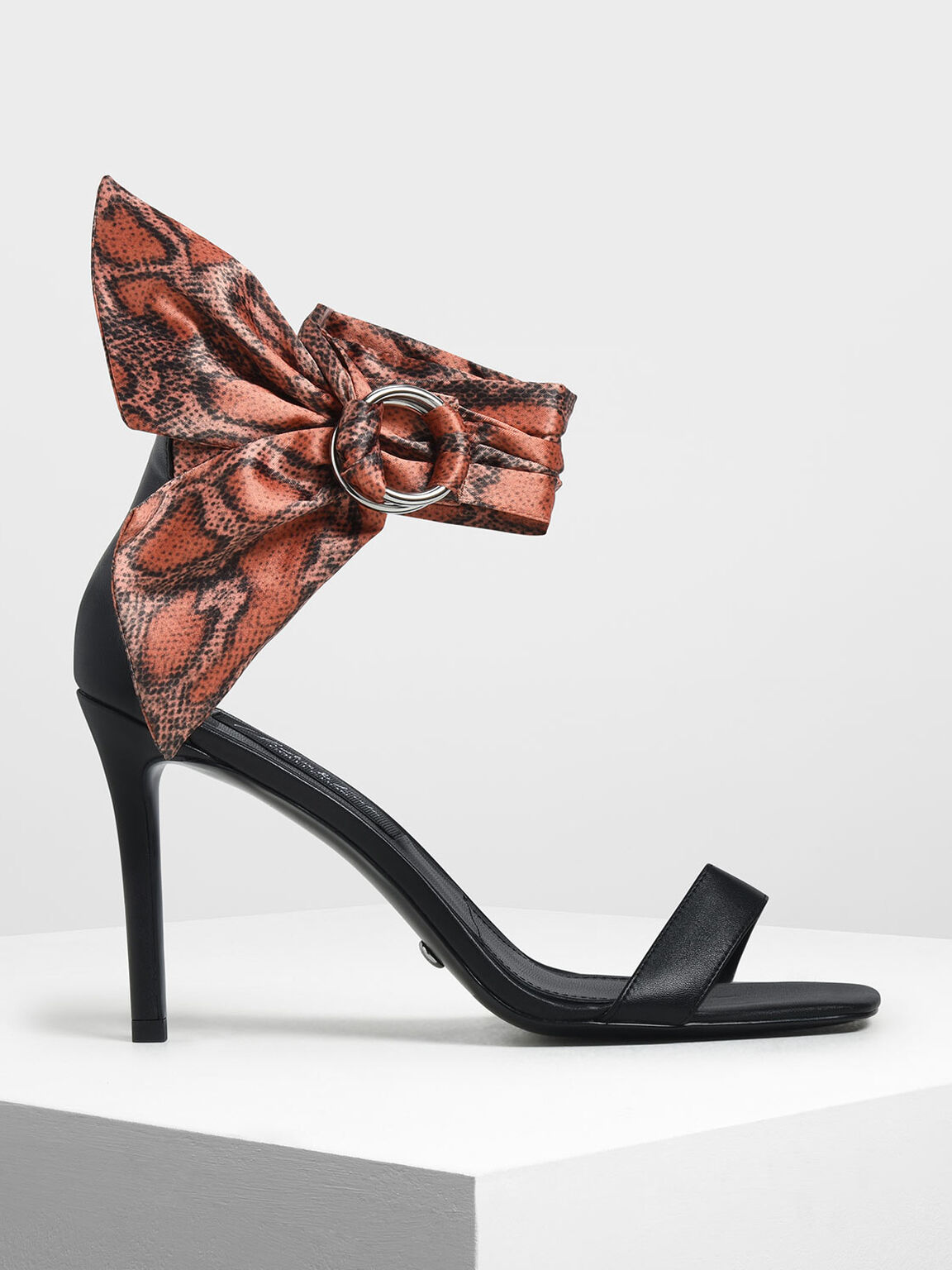 Snake Print Leather Ankle-Tie Heels, Red, hi-res