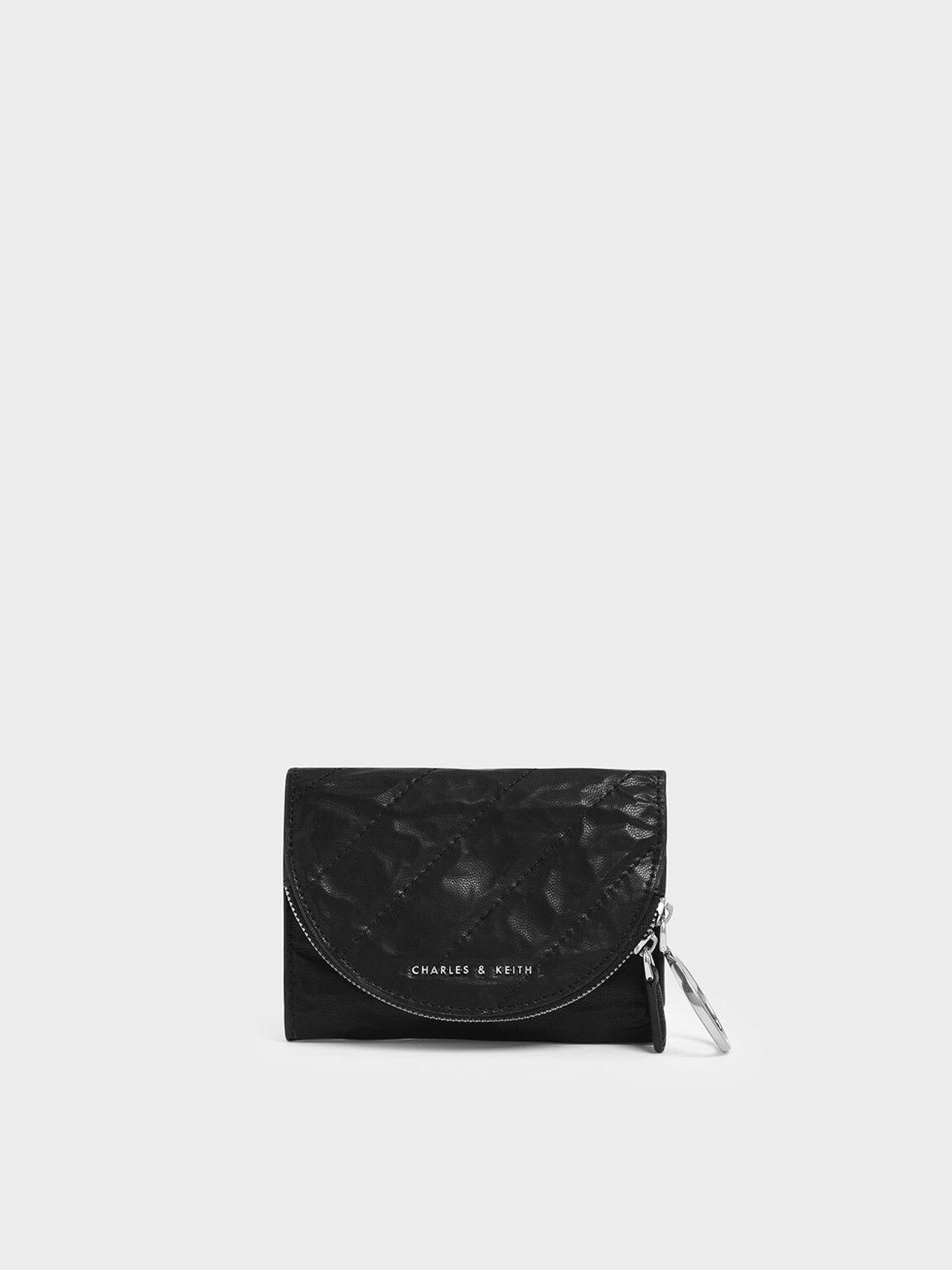 Wrinkled Effect Ring Zip Flap Mini Wallet, Black, hi-res