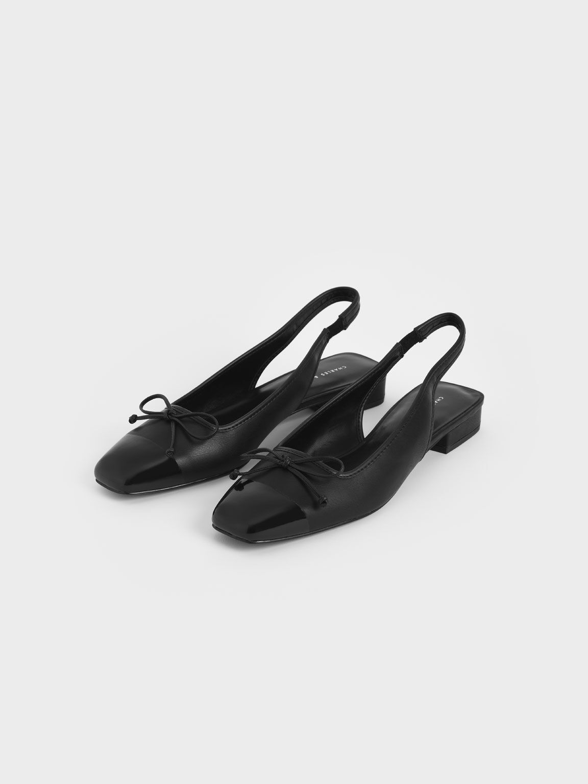 Bow Slingback Ballerinas, Black, hi-res