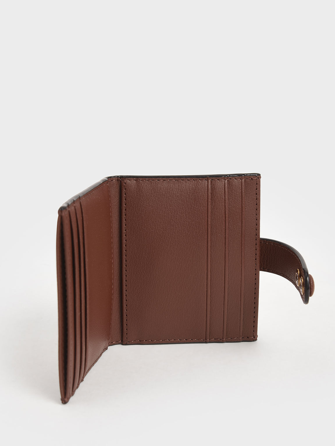 Snap Button Card Holder, Chocolate, hi-res