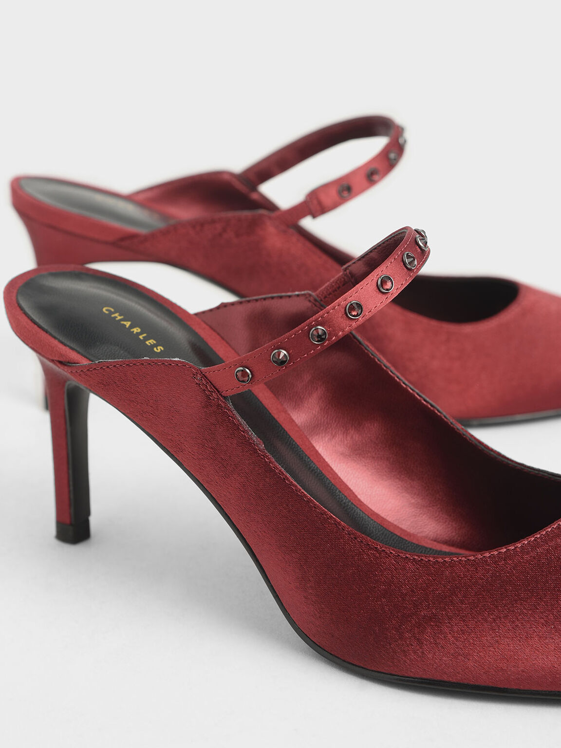 Satin Embellished Strap Mules, Red, hi-res