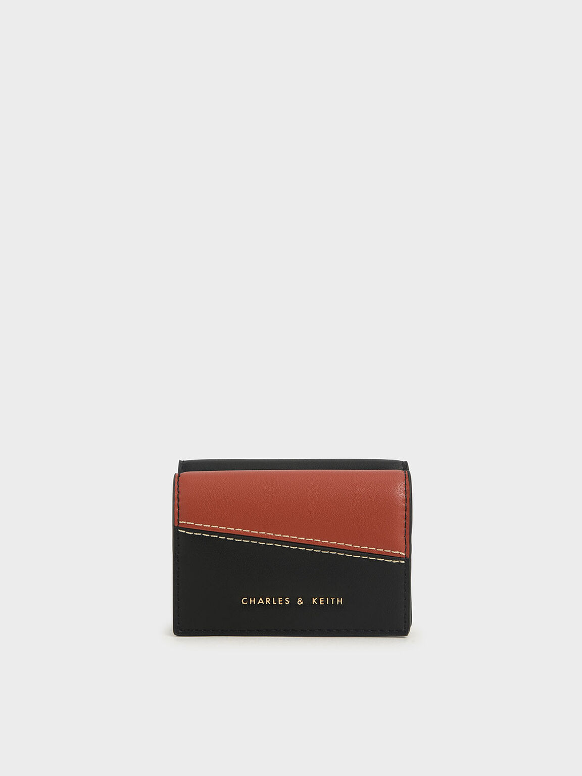 Two-Tone Stitch-Trim Wallet, Black, hi-res