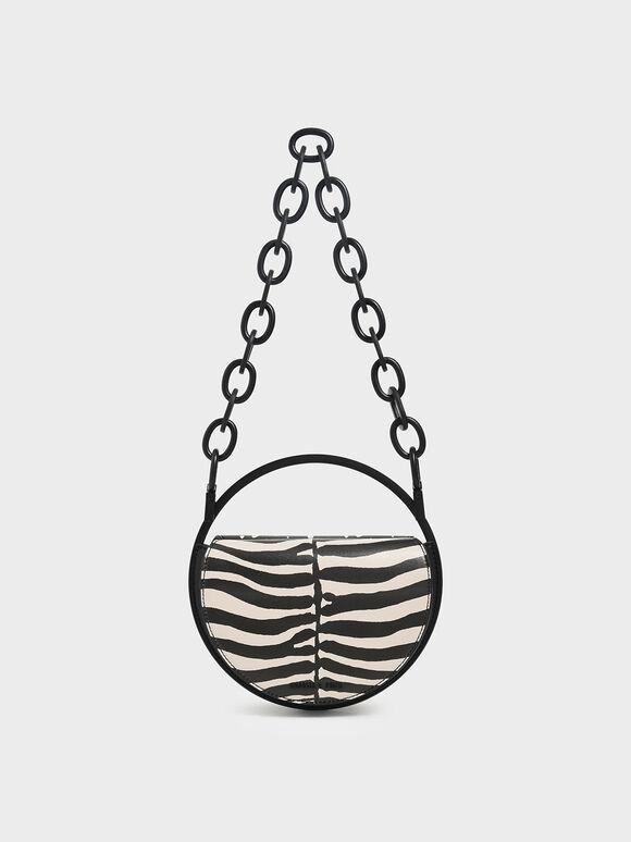 Zebra Print Circle Clutch, Multi, hi-res