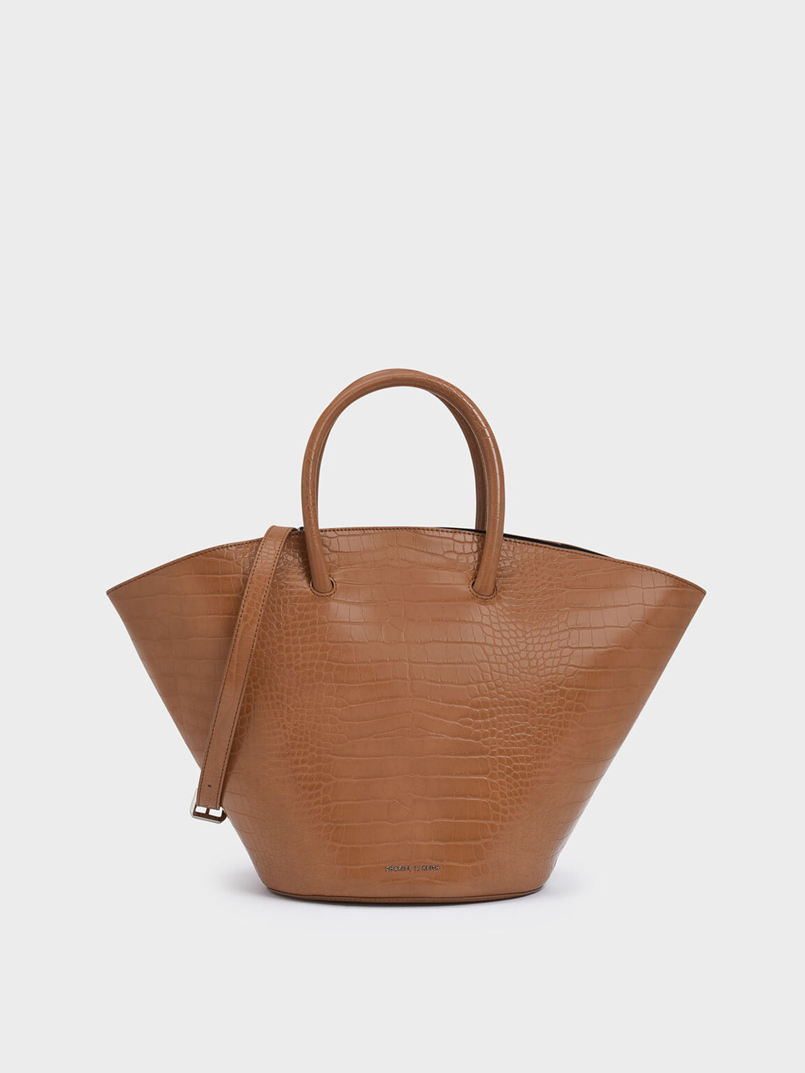 Croc-Effect Large Trapeze Tote, Tan, hi-res