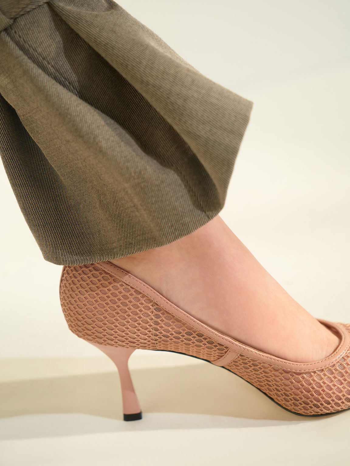 Leather Mesh Pumps, Nude, hi-res