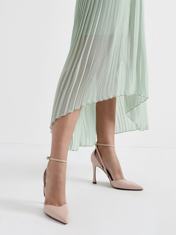 V-Cut Patent Leather Ankle Strap Heels, Nude